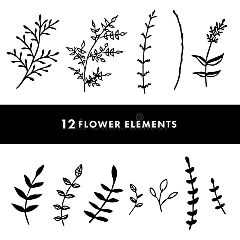 Flores dibujadas mano fijadas ilustración del vector