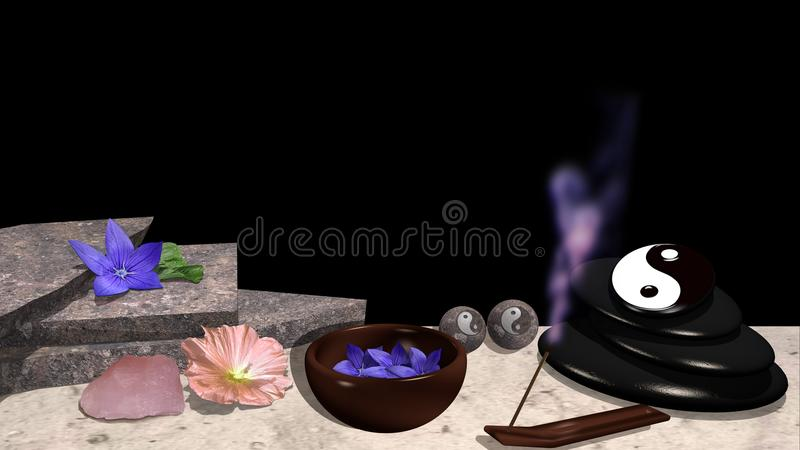 Flores diferentes, placas de pedra, shell com flores, pedra de polimento ilustração royalty free