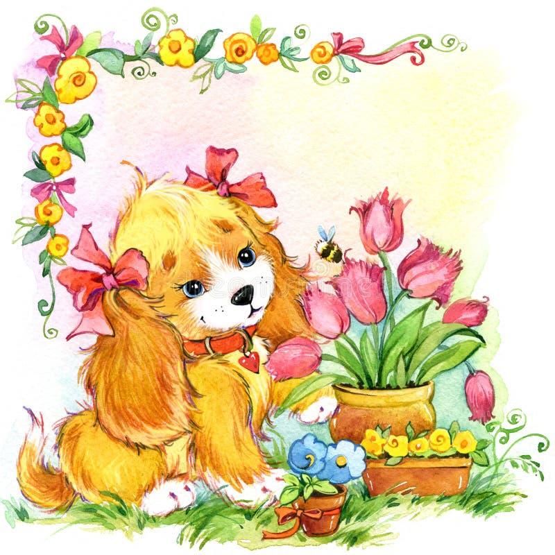 Flores divertidas del dogand del perrito ollustration de la acuarela ilustración del vector