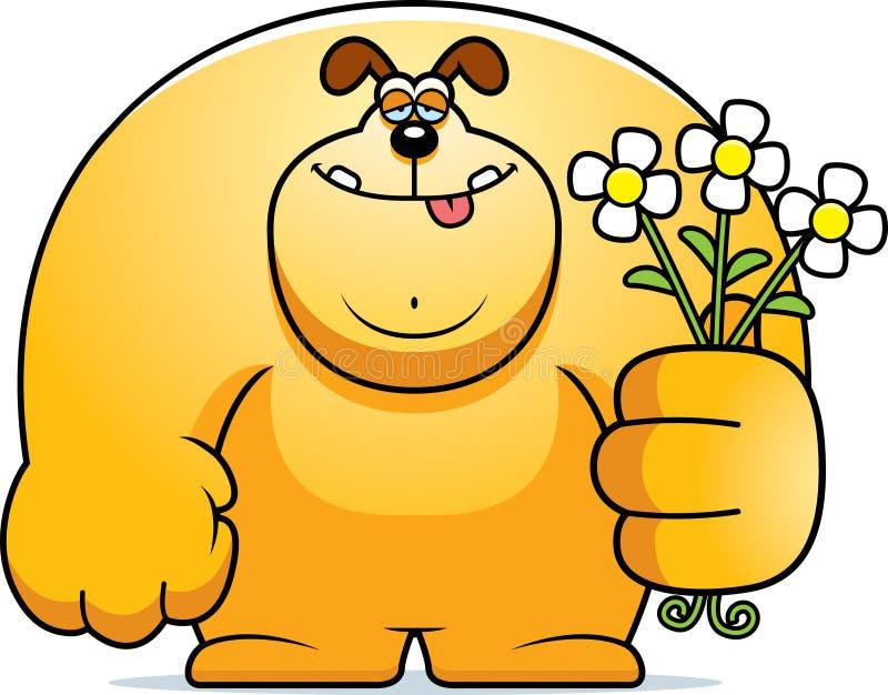 Flores do cão dos desenhos animados ilustração stock