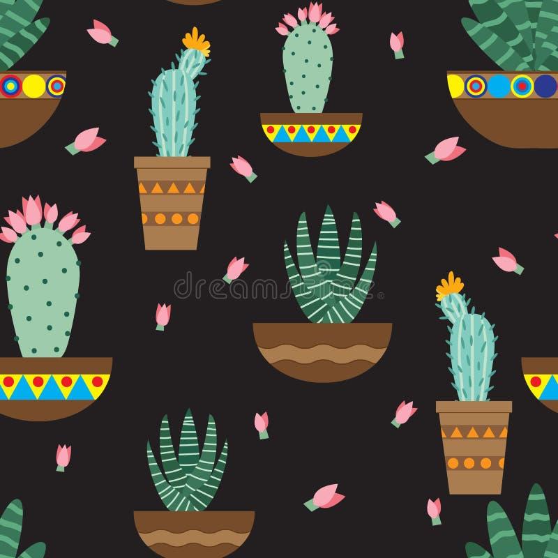 Flores do cacto em uns potenciômetros cerâmicos com ornamento Cactos brilhantes, folhas do alo?s, flora tropical do deserto sucul ilustração royalty free