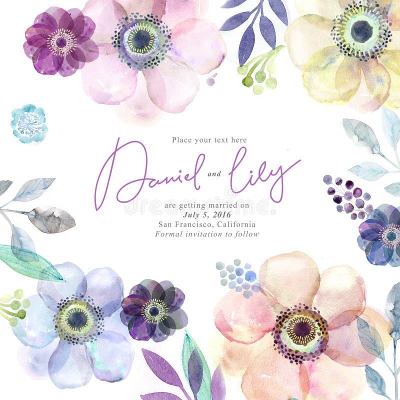 Flores do cartão da aquarela handmade Fundo das felicitações Cartão das flores ilustração do vetor