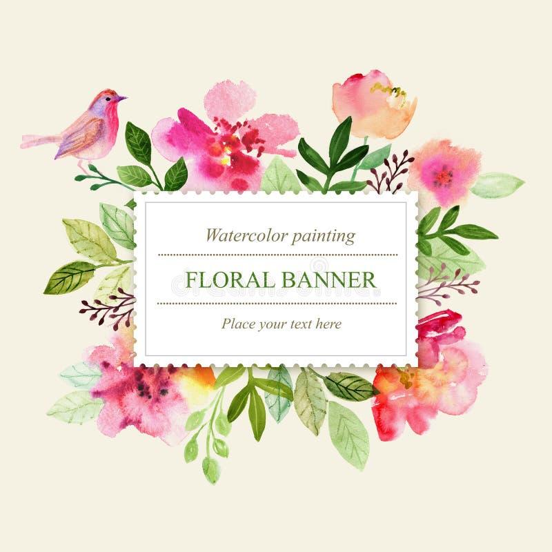 Flores do cartão da aquarela handmade Fundo das felicitações Cartão das flores ilustração stock