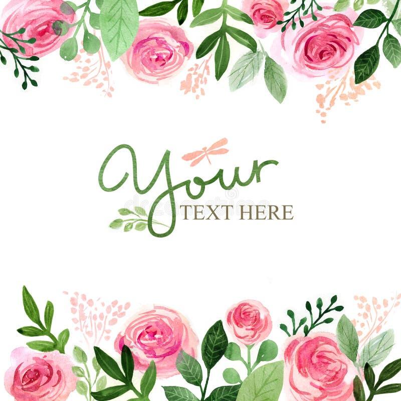 Flores do cartão da aquarela handmade Fundo das felicitações Cartão das flores ilustração royalty free