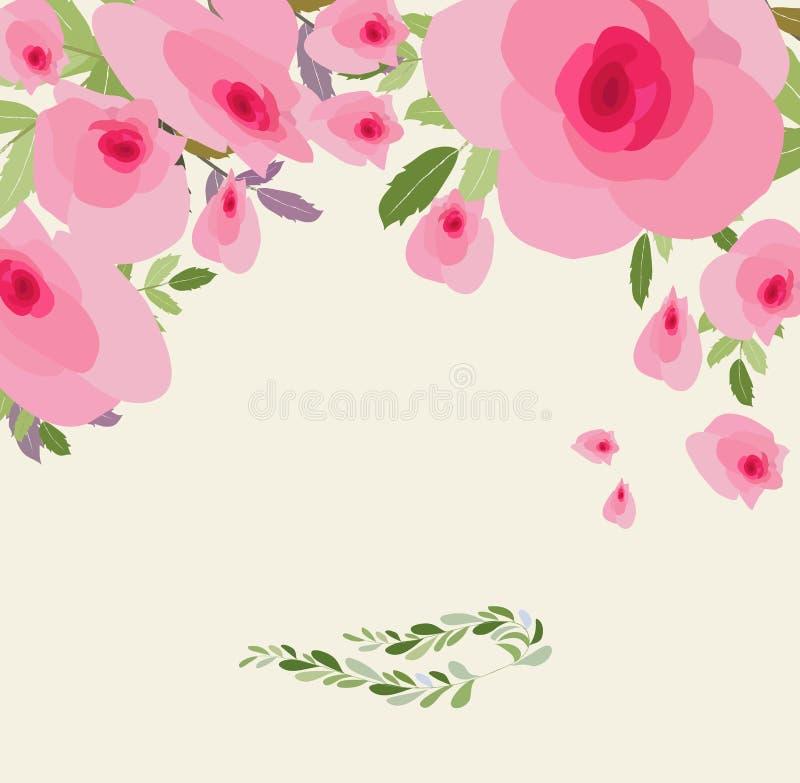 Flores do cartão Ilustração floral com as flores cor-de-rosa no estilo do vintage Mola, verão ilustração do vetor