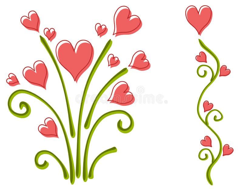 Flores do coração do dia do Valentim cor-de-rosa ilustração do vetor