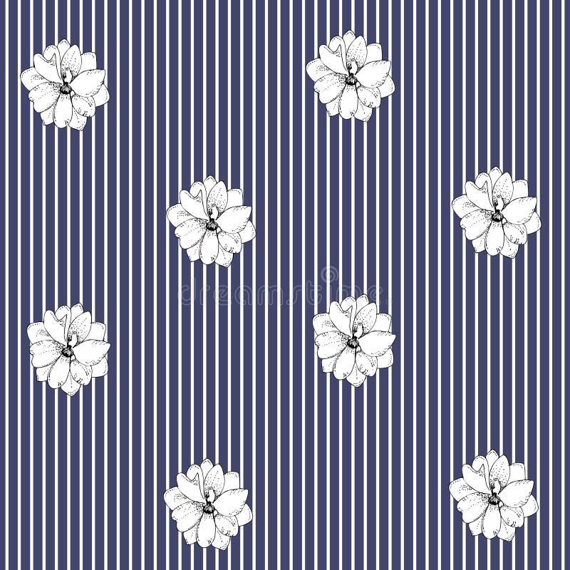 Flores do delfínio em fundo listrado Teste padrão floral sem emenda no vetor Estilo escandinavo ilustração royalty free