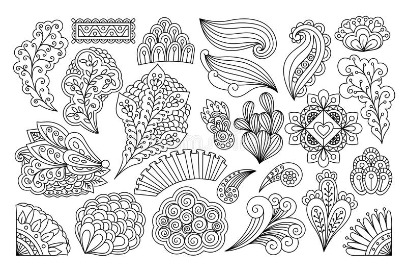 Flores do desenho da tinta ilustração do vetor