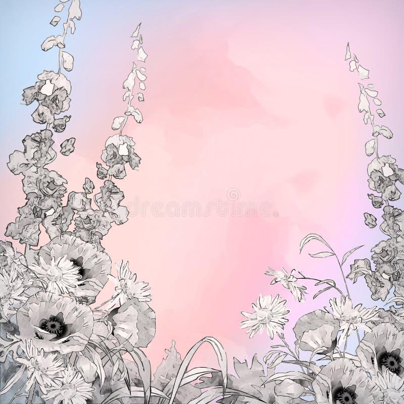 Flores do esboço da tinta do lápis da aquarela do vetor ilustração royalty free