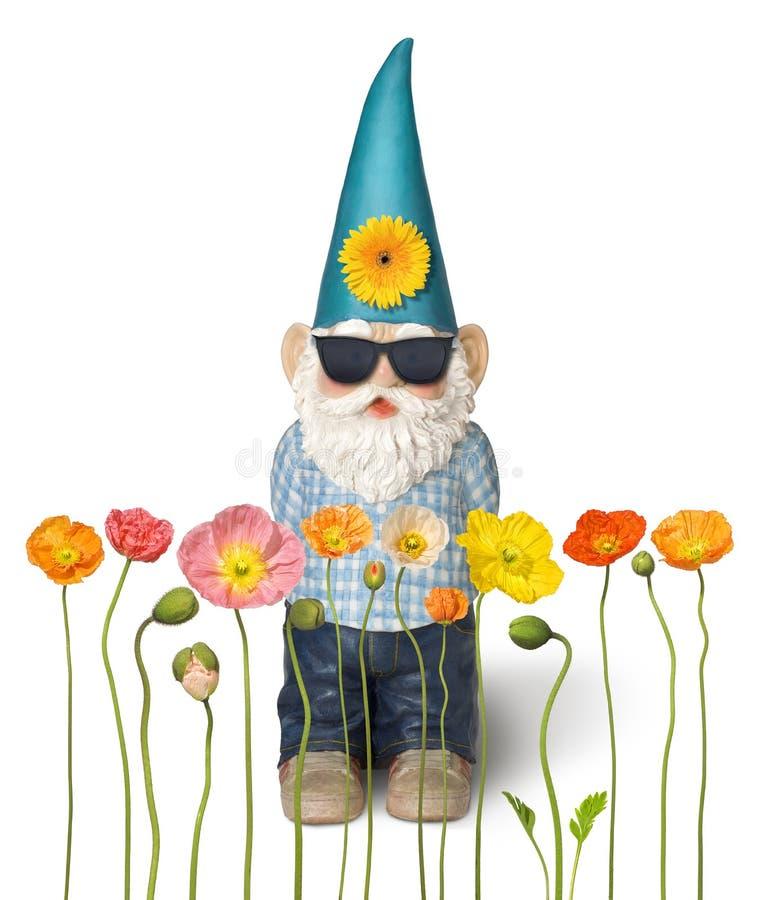 Flores do Gnome do jardim fotos de stock royalty free