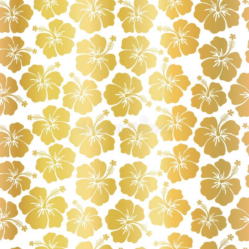 Flores do hibiscus da folha de ouro no teste padrão sem emenda do vetor do fundo branco Folha metálica Contexto feminino floral P ilustração royalty free
