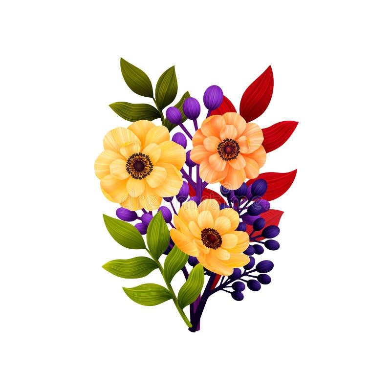 Flores do jardim Cart?o floral, ramalhete com an?monas amarelas e folhas coloridas C?pia do ramalhete da floresta Casamento r?sti ilustração royalty free