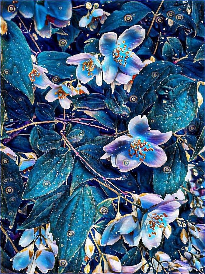 Flores do jasmim em um arbusto na mola foto de stock