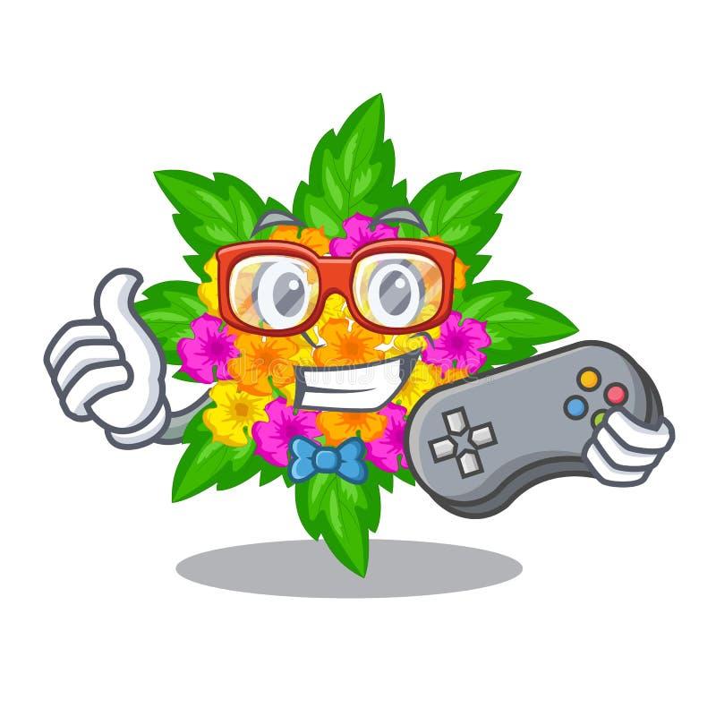 Flores do Lantana do Gamer na forma dos desenhos animados ilustração stock
