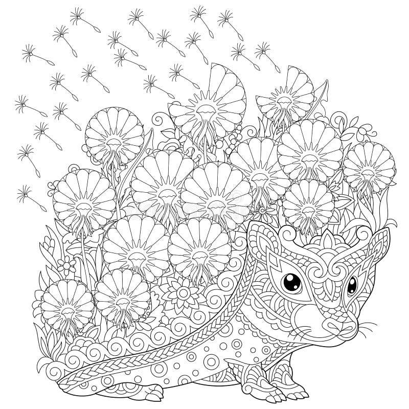Flores do ouriço e da mola de Zentangle que colorem a página ilustração royalty free