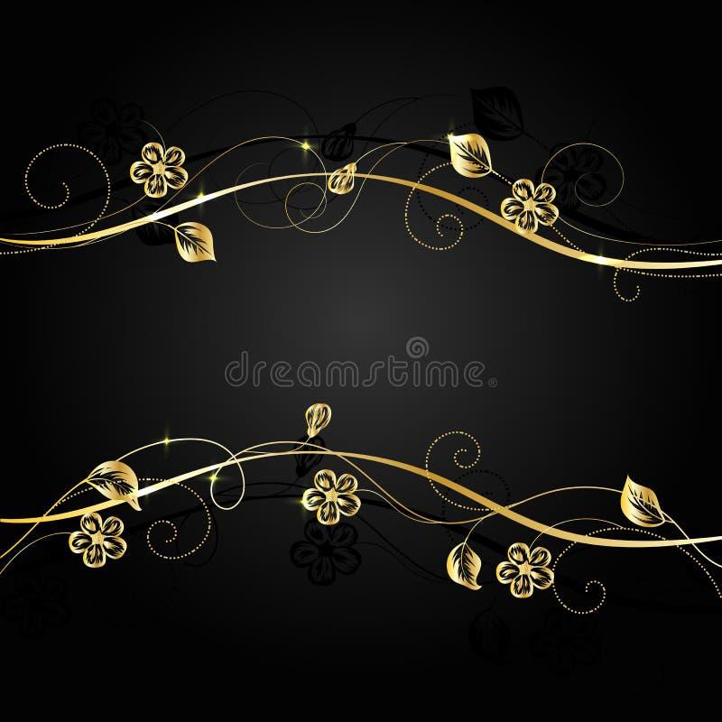 Flores do ouro com sombra no fundo escuro ilustração stock