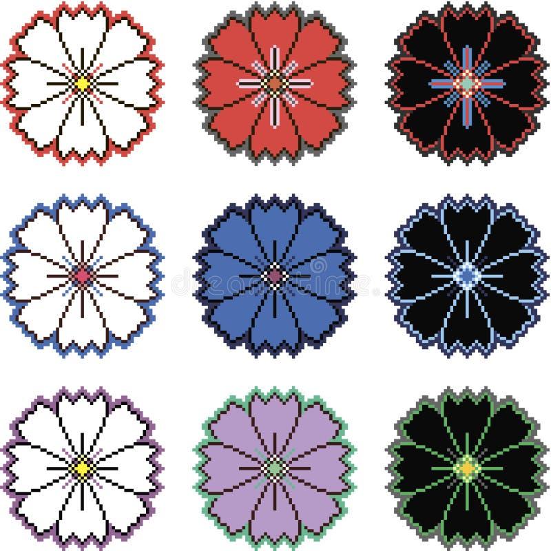 Flores do pixel em variações diferentes da cor ilustração royalty free