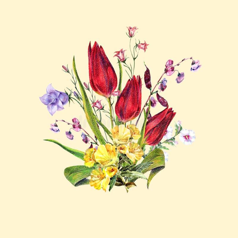 Flores do ramalhete do prado em um fundo cor-de-rosa Ilustração da mão ilustração stock