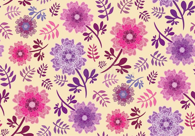 Flores do rosa e do roxo da esperança da mola ilustração do vetor
