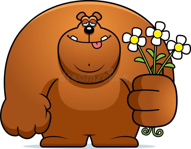 Flores do urso dos desenhos animados ilustração stock