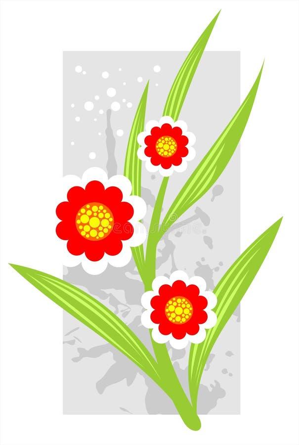Flores do vermelho de Grunge ilustração royalty free
