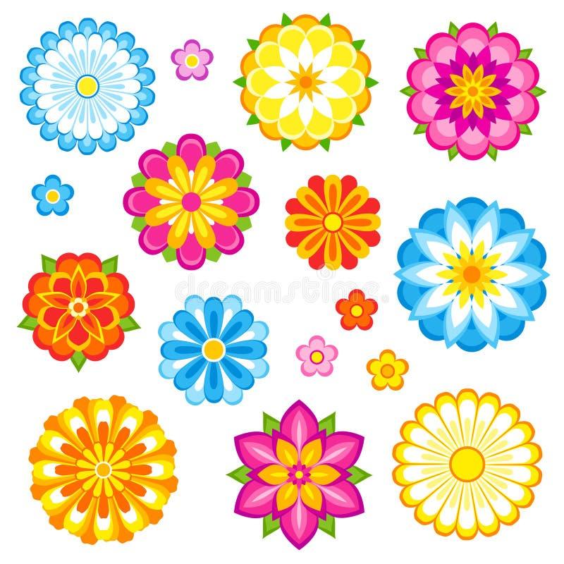 Flores do vetor ajustadas ilustração stock