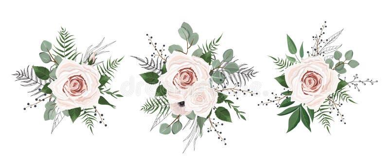 Flores do vetor ajustadas Coleção floral colorida com folhas e flores ilustração do vetor