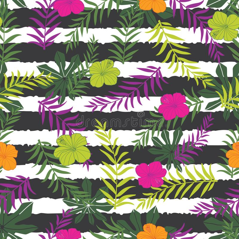Flores do vetor e folhas tropicais da samambaia no fundo das listras Apropriado para o papel de embrulho, a matéria têxtil e o pa ilustração royalty free