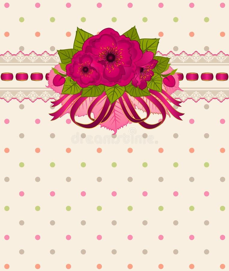 Flores do vintage com ornamento do laço ilustração do vetor