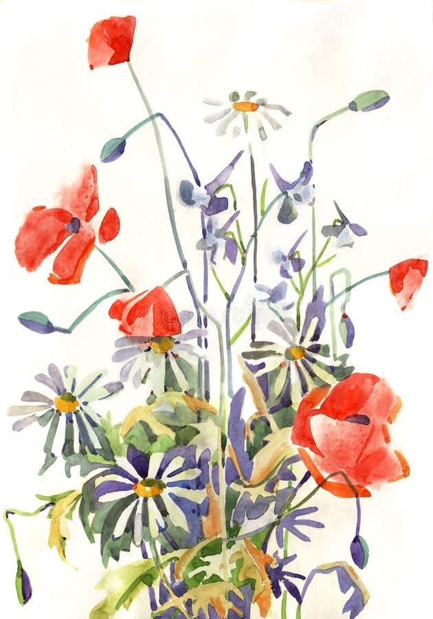 Flores do Watercolour ilustração do vetor