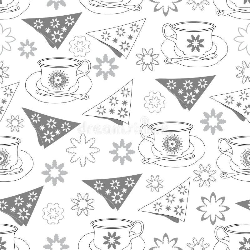 Flores dos guardanapo dos copos de chá e tea party do Neve-jardim Teste padrão sem emenda da repetição ilustração do vetor