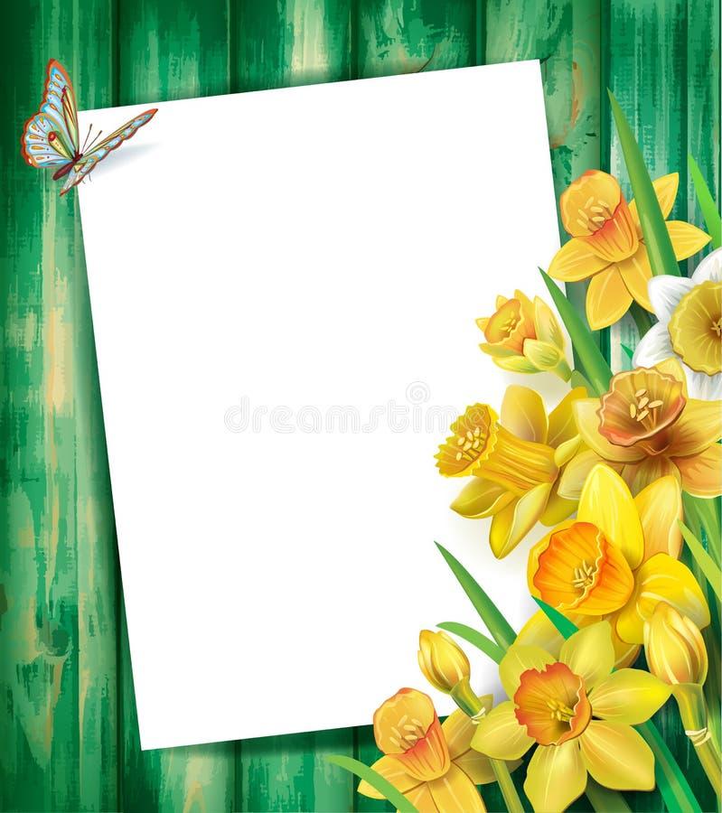 Flores dos narcisos amarelos no fundo de madeira ilustração stock