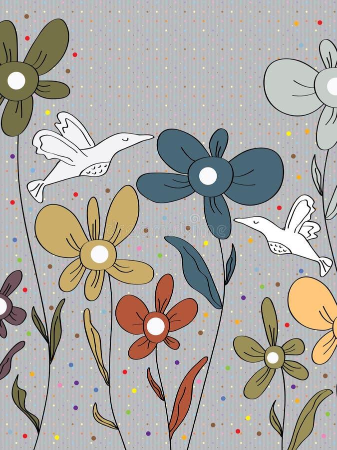 Flores Dots Card de los pájaros ilustración del vector