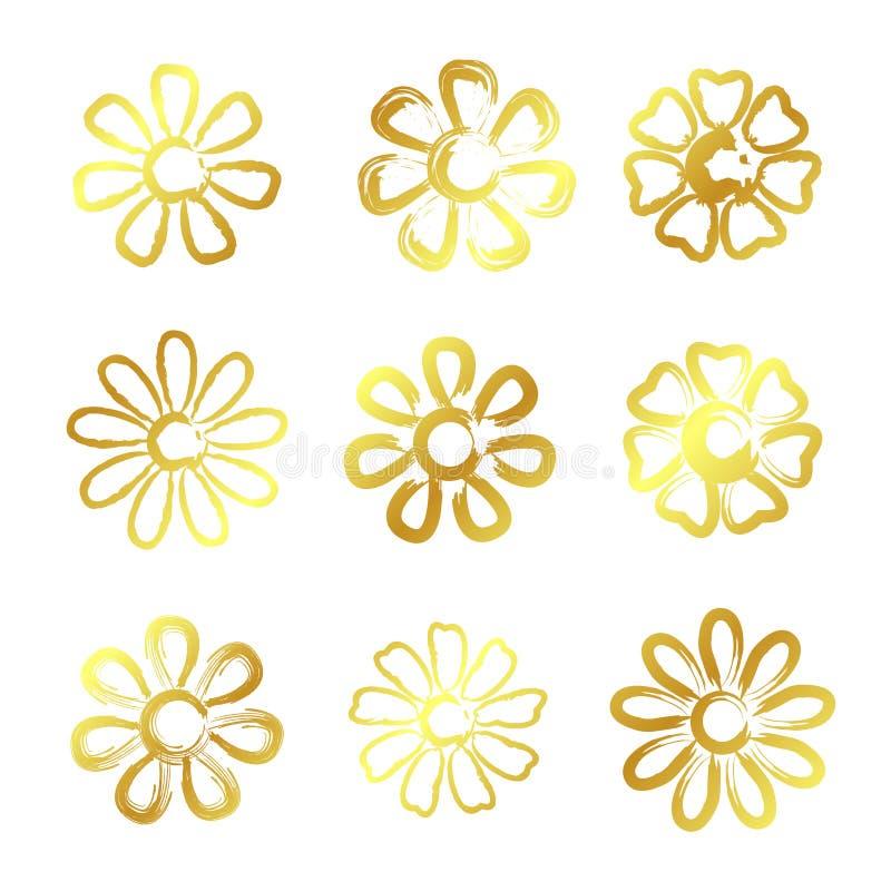 Flores douradas ilustração royalty free