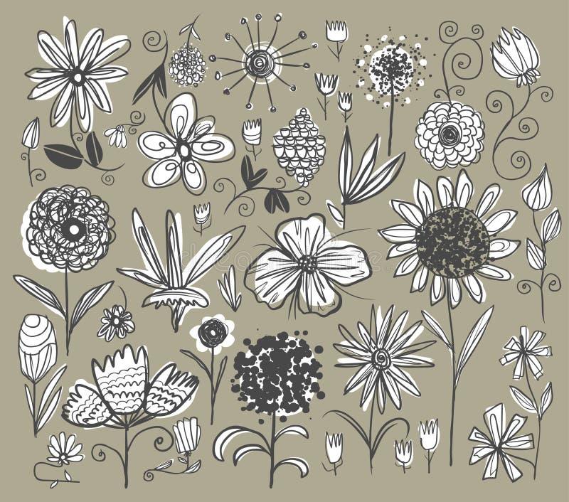 Flores drenadas mano stock de ilustración