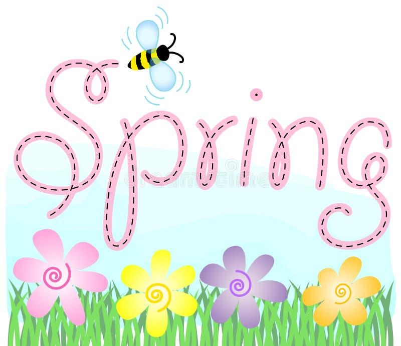 Flores e abelha da mola