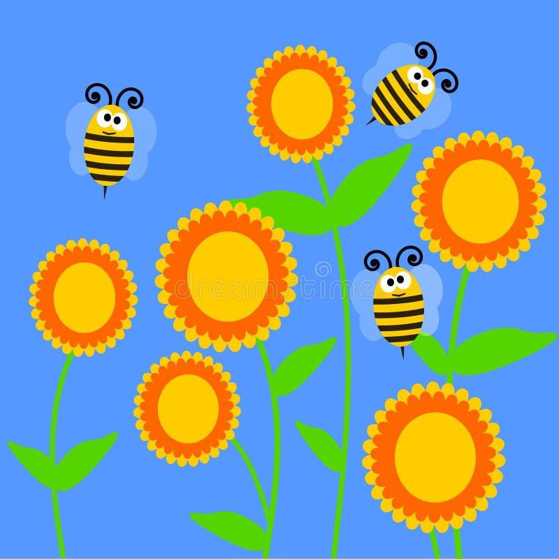 Flores e abelhas ilustração do vetor