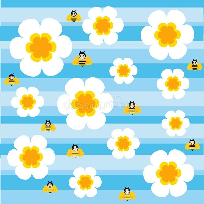 Flores e abelhas ilustração royalty free