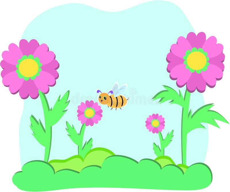 Flores e abelhas com bolha do céu ilustração royalty free