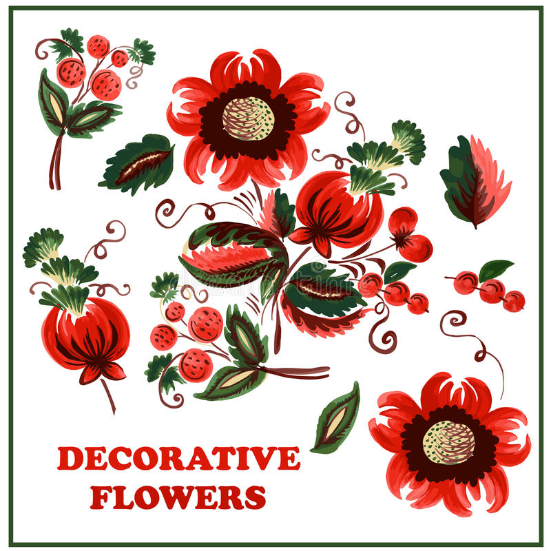 Flores e bagas decorativas ilustração do vetor
