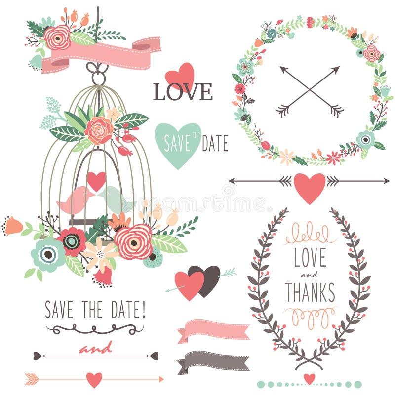 Flores e Birdcage do casamento do vintage ilustração do vetor