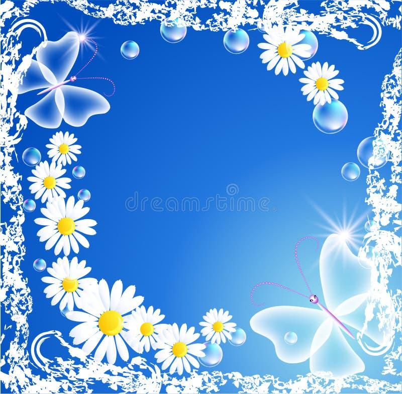 Flores e bolhas no frame do grunge ilustração stock