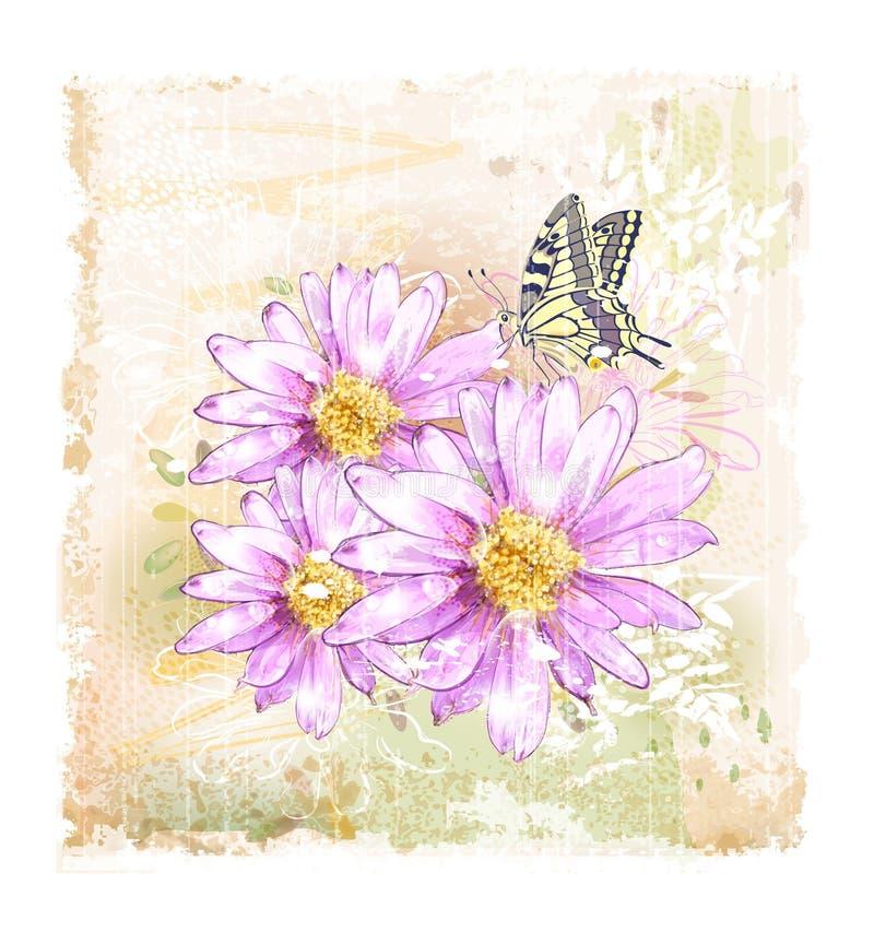flores e borboleta ilustração stock