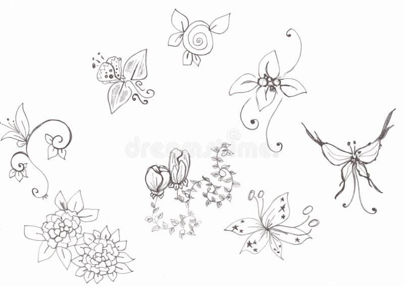 Flores e borboleta ilustração do vetor