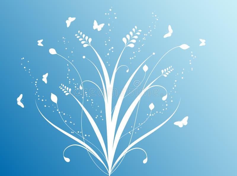 Flores e borboletas ilustração do vetor