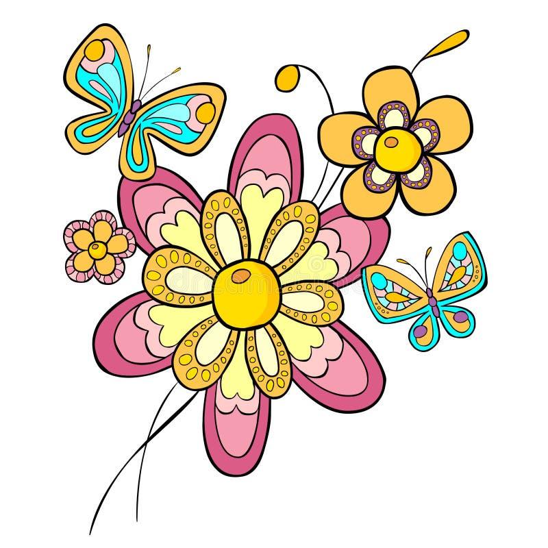 Flores e borboletas abstratas foto de stock royalty free
