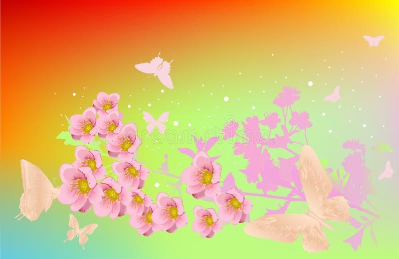 Flores e borboletas da cereja ilustração do vetor
