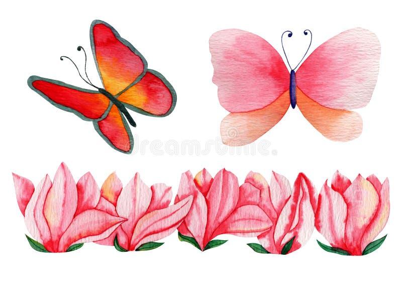 Flores e borboletas tiradas mão da magnólia da aquarela para a fatura do cartão, o papel, a matéria têxtil e imprimir ilustração stock