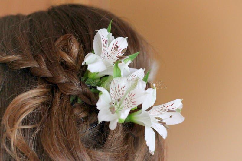 Flores e cabelo fotografia de stock