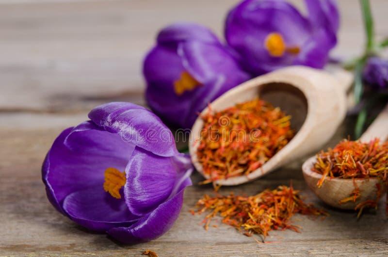 Flores e colher do açafrão com soffron foto de stock